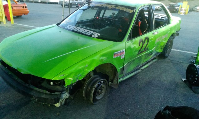 What was left of the car of the partner endurance race . . .